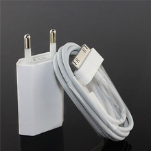 Travel EU Plug USB wall Charger Adapter Power + sync data Charging Cable for apple iPhone 4 4s 3G 3GS