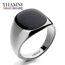 Hot Sale Fashion Black Wedding Rings For Men Brand Luxury Black Onyx Stones Crystal Ring Fashion 18KRGP Rings Men Jewelry R0378
