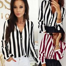 b34e89542 Women Casual Striped Button Sexy V neck Blouse Shirt Long Sleeve Elegant  Office Lady Shirt 2019