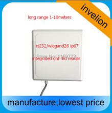 1-10meters RS232/Wiegand 26/34 all in one UHF RFID Reader antenna for Access Control System provide free card tag sample