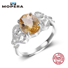 Hot Sale Luxury Women Ring 2ct High Quality 100% Natural Citrine Ring Real 925 Sterling Silver Jewelry For Lady Wedding Ring(China)