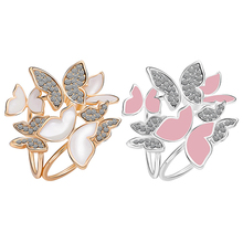 New and fashion Women Butterfly Cluster Rhinestone Circles Scarf Clip Crystal Wedding Brooch Pin