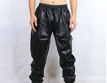Free shipping Cool hip hop faux leather sweatpants men Black red Sweat pants kanye Track pants plus size MP10(China)