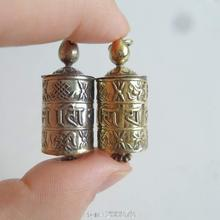 TGB055 Tibetan Antiqued Metal Mantras Auspicious Prayer Wheel Box Locket Tibet Mani Amulet Pendant Lucky Babao Silver Golden(China)