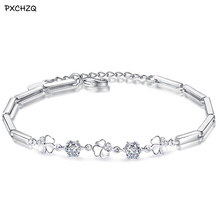 Clover Swing Flower Silver Bracelet Simple temperament gorgeous purple white crystal original fashion female jewelry 17 +3 CM(China)