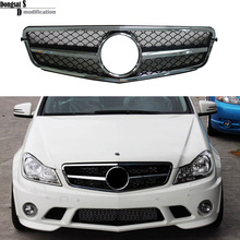 Mercedes C class W204 front bumper racing grills 1-fin grille for benz W204 C250 C300 C350 sedan 2007 - 2014