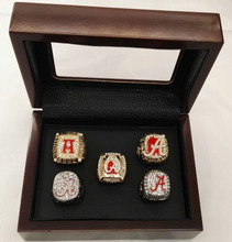 Wholesale 5 sets 1992/2009/2011/2012/2015 Alabama Crimson Tide National Replica Championship Rings With Wooden Boxes