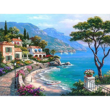 Frameless The Mediterranean Sea DIY Painting By Numbers Seascape Handpainted Oil Painting Home Wall Artwork For Living Room