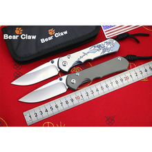BEAR CLAW OEM CR Series Sebenza 25 High Quality Flipper folding knife D2 blade Titanium Handle Outdoor Camping Hunting knives(China)