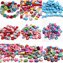 Mixed Sale Wooden Beads 20pcs Multicolor Mixed Spacer Beading Wood Beads for Jewelry Making DIY Baby Pacifier clip Rattle(China)