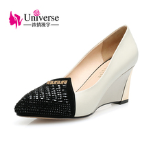 Universe Genuine Leather Women's Shoes Wedges Shallow Mouth with Crystal 3 Colors C008(China)