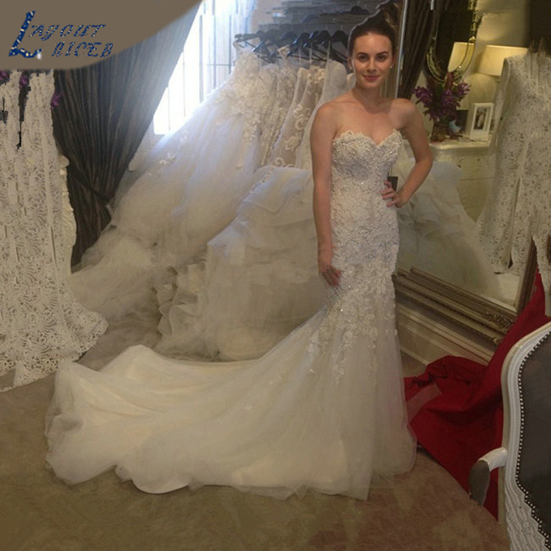 Sweetheart Beaded Mermaid Wedding Dress 2018 Real Pictures Lace Wedding Dress Tulle Bridal Wedding Gown Vestido De Noiva