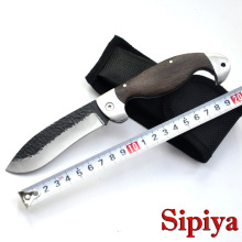 Forged Titanium processing folding knife 440C Stainless Steel pattern Camping knife & wood handle + Nylon Sheath