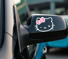 2 x Funny Hello Kitty Car Stickers Car Decal Rear View Mirror Decals for Toyota Chevrolet Volkswagen Honda Hyundai Kia Lada(China)