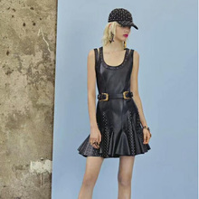 Buy Women Fashion Black PU Leather Dress 2018 New Arrival Sleeveless Cut Bodycon Night Club Party Dresses Hollow Sexy Dress for $36.99 in AliExpress store