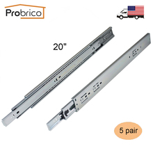 "Probrico 5 Pair 20"" Soft Close Ball Bearing Drawer Rail Heavy Duty Rear/Side Mount Kitchen Furniture Drawer Slide DSHH32-20A(China)"