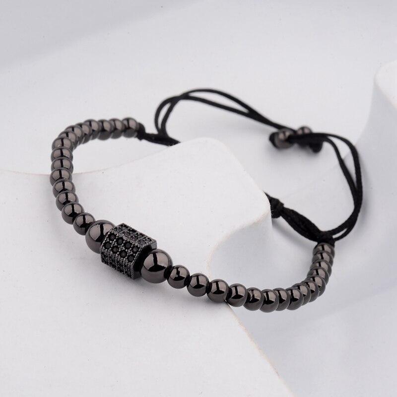 DOUVEI 17 New Black Diy Design Pave CZ Ball Charm Bracelet Men Women Braided Macrame Copper Beads Jewelry Gift For Men Women 13