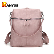 Simple Style Pink Backpack Women PU Leather Backpacks For Teenage Girls School Bags Fashion Vintage Solid Shoulder Bag Sac a Dos