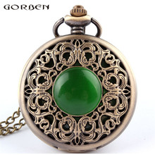 2017 New Vintage Bronze Pocket Watch Crystal Emerald Imitation Stone Quartz Pocket Watch Necklace Woman Hollow Retro Green P267
