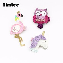 Timlee H091 Free Shipping Cartoon Flamingo Bird Owl  Unicorn Manual Glitter Stereo Girl Hairpin Hair Accessary Gift