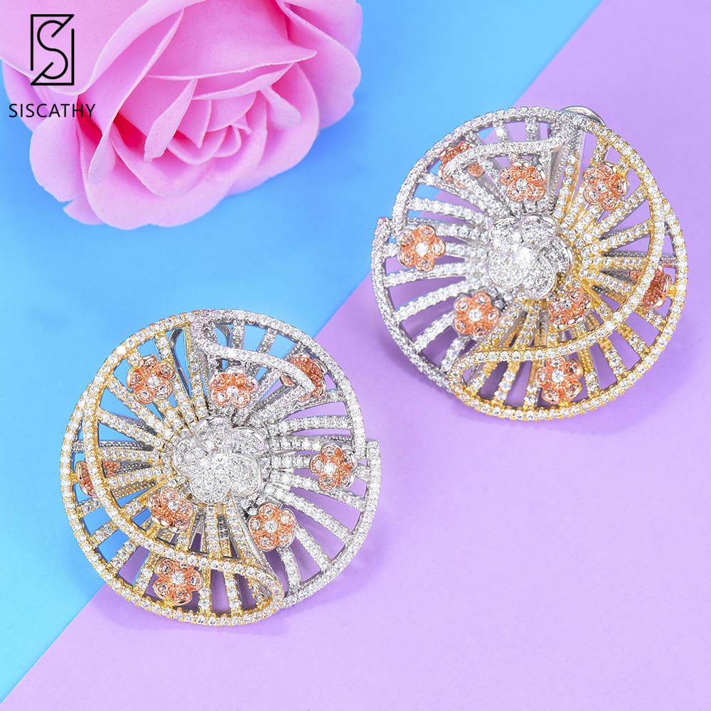 Siscathy 2019 New Design Trendy Hollow Women Stud Earring Big Round korean bohemian Statement Earrings Jewelry For Girls Gift