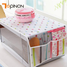 1pc Romantic Pastoral Style Cover Microwave Cover Microwave Oven Hood Microwave Towel with 2 Pouch(China)