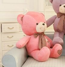 lovely huge teddy bear toy plush bow pink teddy bear heart bear doll gift about 100cm(China)