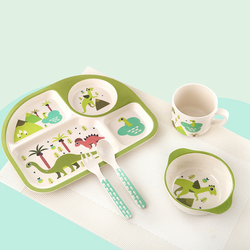 Hot Sale Lovely Baby Feeding Bowl Spoon Cup Cartoon Baby Feeding Tableware Baby Plate Children Kids Tableware Set Dishes C01<br>