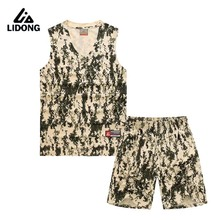 2016 New Men Basketball Jersey Set With Shorts Camouflage Sport Training Basketball Suits Reversible Big Size Can Customized