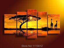 Hot Modern Gold Sea Tree Sunset Giraffe Oil Painting On Canvas Abstract 5 Panel Arts Set Home Decor Wall Picture For Living Room