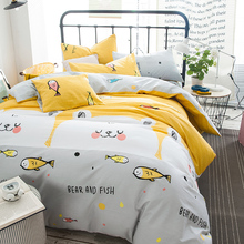 "Jumping fish 78""x90"" duvet cover+ flat sheet +pillowcase set 100% cotton/4PCS kids bedding sets yellow(China)"