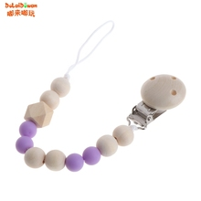 Buy Nipple Holder Beaded Wooden Baby Pacifier Clip Chain Nipple Leash Strap Pacifier Clips Soother Chain 0-3 Years for $1.35 in AliExpress store
