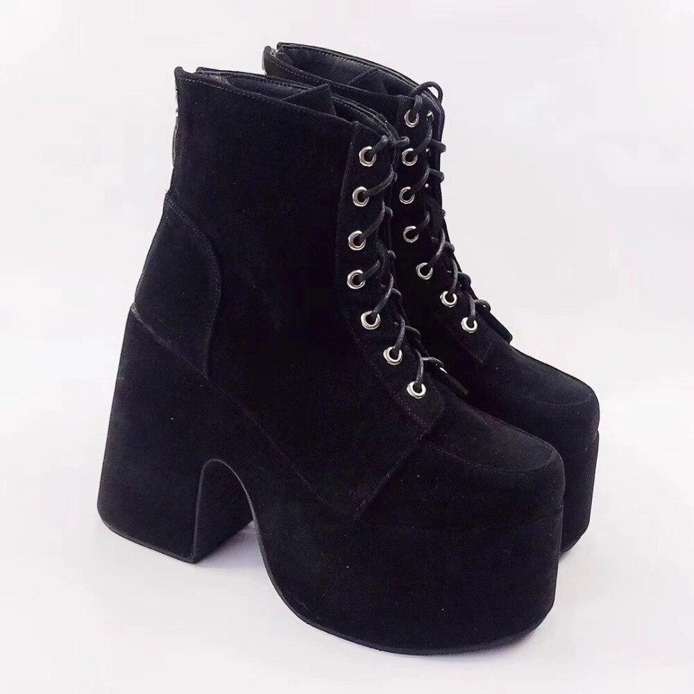 Gothic Women Punk Chunky High Block Heel Lace Up Lolita Platform Jane Shoes Chic