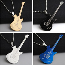 Creative new Lovers Large Pendant Music lover Note Guitar Necklaces Men and women Titanium Necklace Gold Black Silver Blue