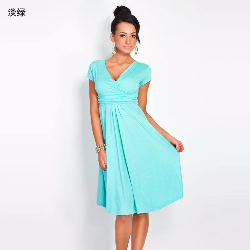 Womens Dress Deep V Sweet Scallop Pleated Skater Cute Slim ...