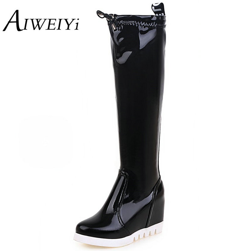 AIWEIYi Women Autumn Winter Knee High Boots Fashion Ladies Wedges Boots Sexy Woman Round toe Martin Shoes Womens Black Boots<br><br>Aliexpress