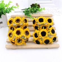 2016 new 6pcs Simulation Yellow Sunflowers Artificial Plastic Silk Girassol Home wedding decoration Craft For Party Decoration