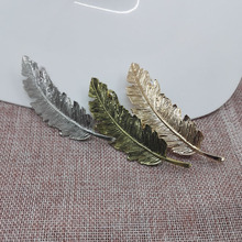 New Korea Metal Feather Hairpin Hair Clips 3 Colors Hair wear Accessories Girl Women Jewelry Fashion Drop Shipping(China)