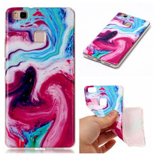 P9 Lite Pink marble stone painting For huawei p9 lite soft silicone TPU back cover case smart phone cellular fundas coque shell