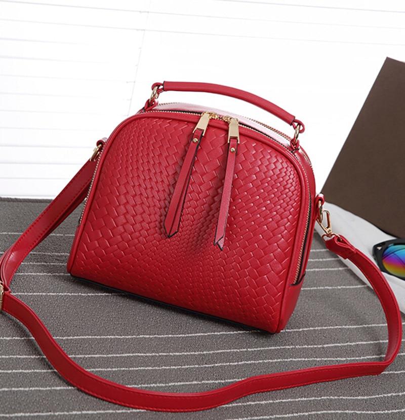 Women Leather Handbag 2017 Fashion Leather Knit Satchel Women Flap Bag Womens Messenger bags<br><br>Aliexpress