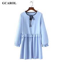Women New Arrival Lotus Leaf Fold Dress Sky Blue Tie UP Ruffles Dress Vintage Female Casual Dress For Spring Autumn Winter