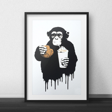 Self-gifting for Christmas, Banksy Pop Decoration Fast Food Monkey, Canvas Wall Art Posters and Prints Paintings for Bar Decor