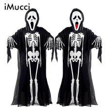 iMucci Halloween Costume Skeleton Ghost Clothes + Skull Devil Mask Demon Ghost Scary Party Clothes Robe for Adult Children Kids