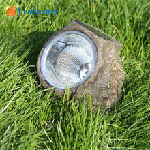 LumiParty Solar Powered Decorative Resin Stone Spot Light Outdoor Water Resistant LED Landscape Lamp for Garden Yard