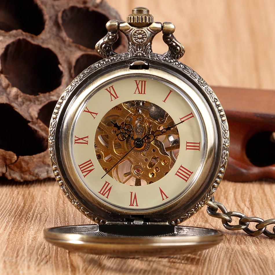 YISUYA Hollow Pendant Pocket Watch Men Prague Constellation Mechanical Hand Winding Copper Compass Women Christmas Xmas Gift (4)