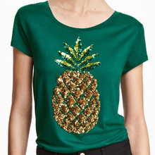 Green short sleeve pineapple sequined t shirts for women summer O neck graphic tees ladies street stylish casual tops tshirts