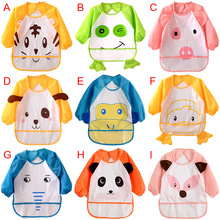 2017 Miyuebb 9 Colors Cute Children Bib Cartoon Printed Long Sleeve Baby Bib Baby Waterproof Apron Dress Pattern
