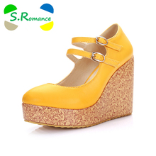S.Romance Plus Size 31-43 Women Pumps Fashion Sexy Round Toe Buckle High Heel Woman Shoes Green Red Yellow Orange Beige SH390