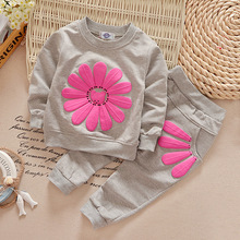 2pcs 2T~4T Baby Girl Clothes Sets Cotton Gray Sunflower Long Sleeved+Pants Autumn Spring Gray Sunflower kids Clothes Set V49(China)