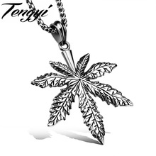 Classic Style Design Men Maple Leaf 316L Stainless Steel Necklaces Personality Coconut Tree Pendant With Chain Best Gift TY1094